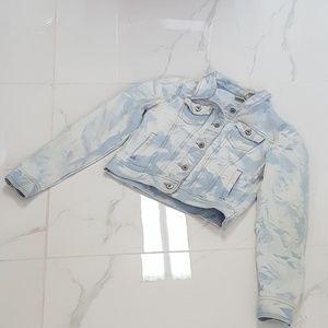 Mudd tie dye white blue denim jacket Large